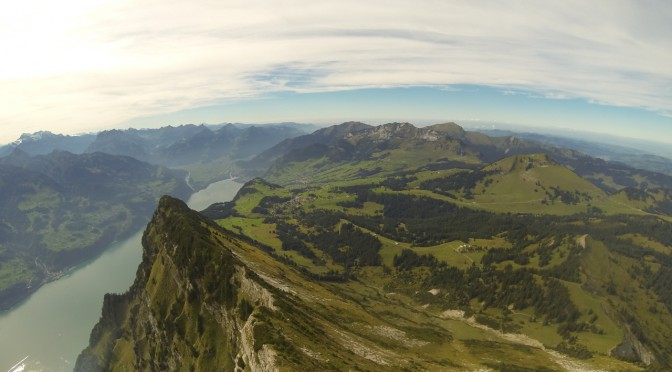 Aerial image taken above Leistkamm in the Swiss Alps
