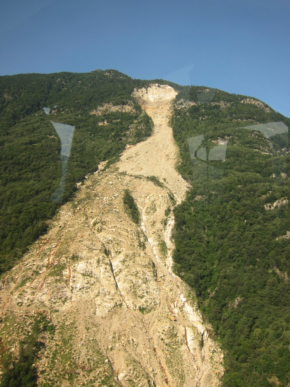 Picture taken from the helicopter taking the whole film crew to the top of the landslide.