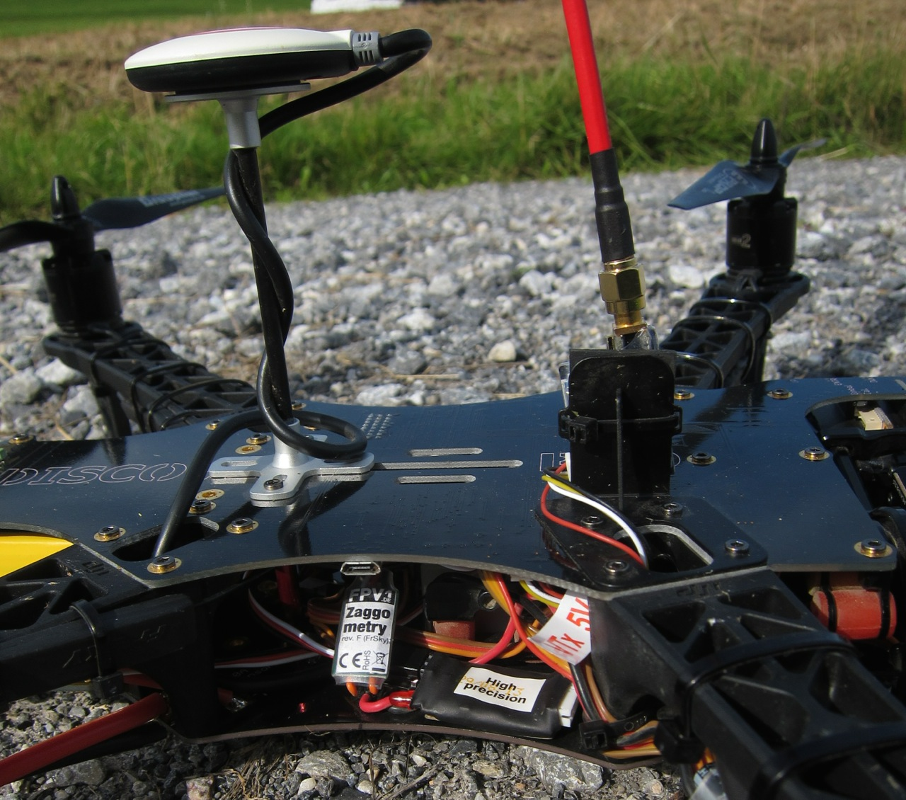Zaggometry telemetry adapter, next to a high precision variometer, reads live GPS data from the NAZA GPS puck and transmit it over the telemetry link to the Taranis RC remote.