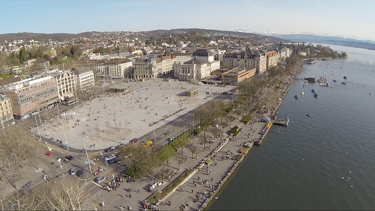 The newly redesigned Sechseläuten square in Zurich with the opera house in the background.