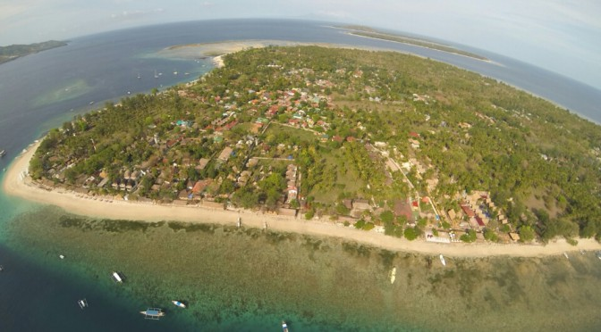 Gili Air, one of the three Gili islands off the coast of Lombok, Indonesia. Photo taken with the GoPro on a Phantom copter.